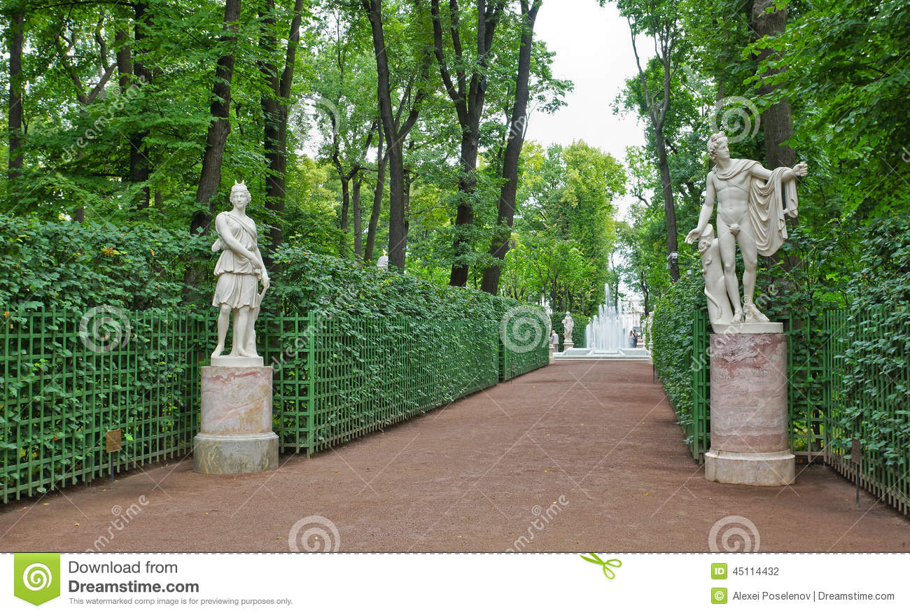 Ancient statues in the Summer Gardens park in Saint-Petersburg
