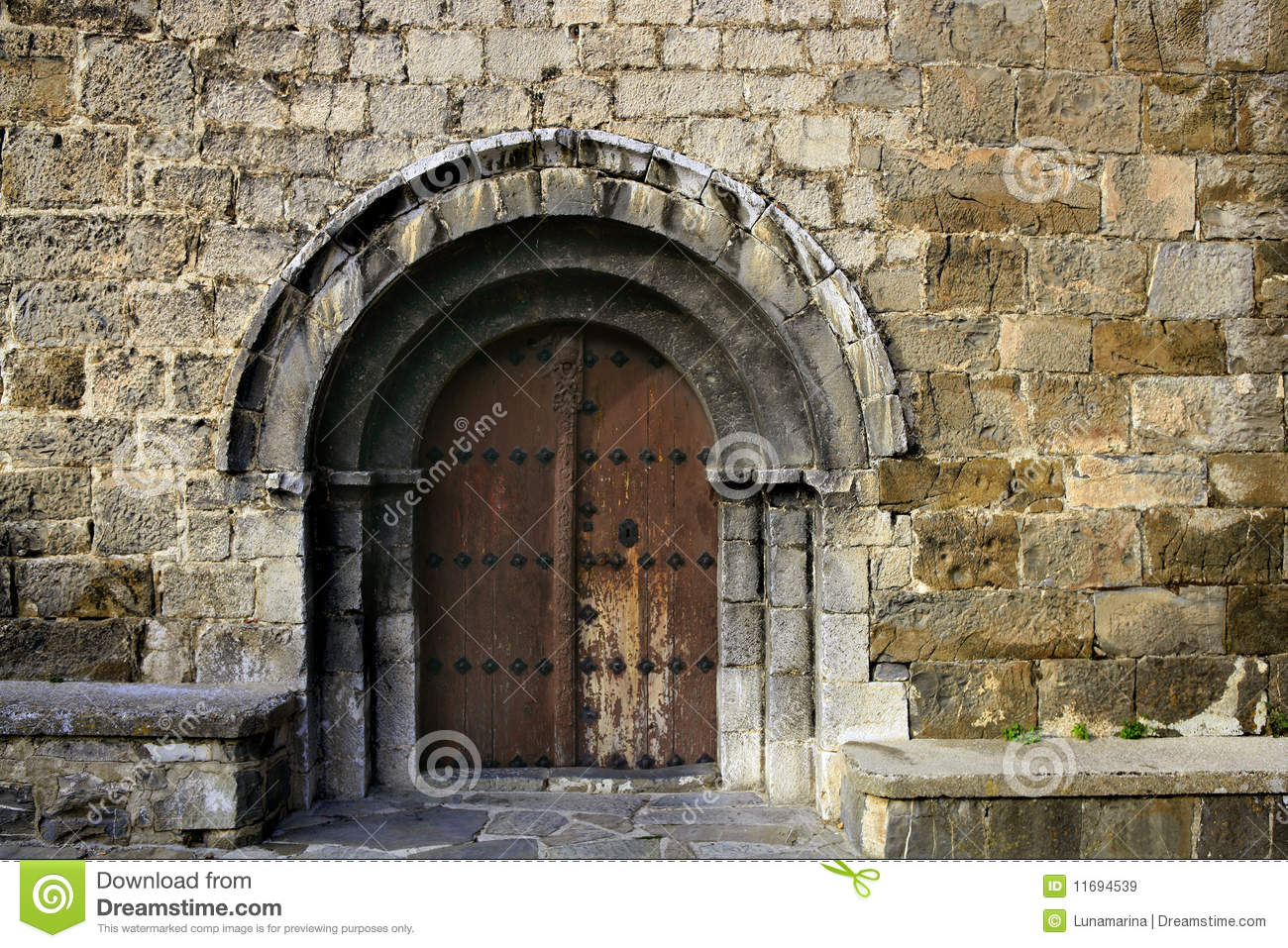 Ancient Stone Arch Romanic Architecture Royalty Free Stock