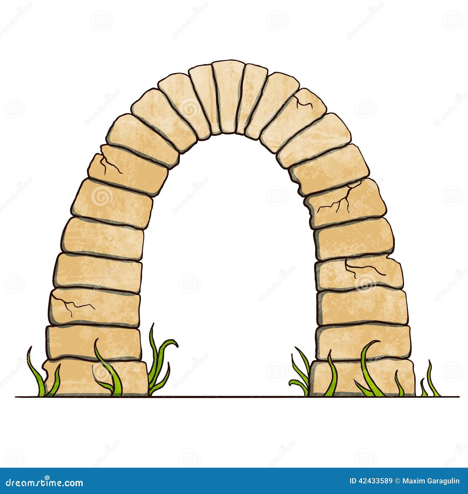 Stone Block Clip Art : Ancient stone brick arc on white background vector