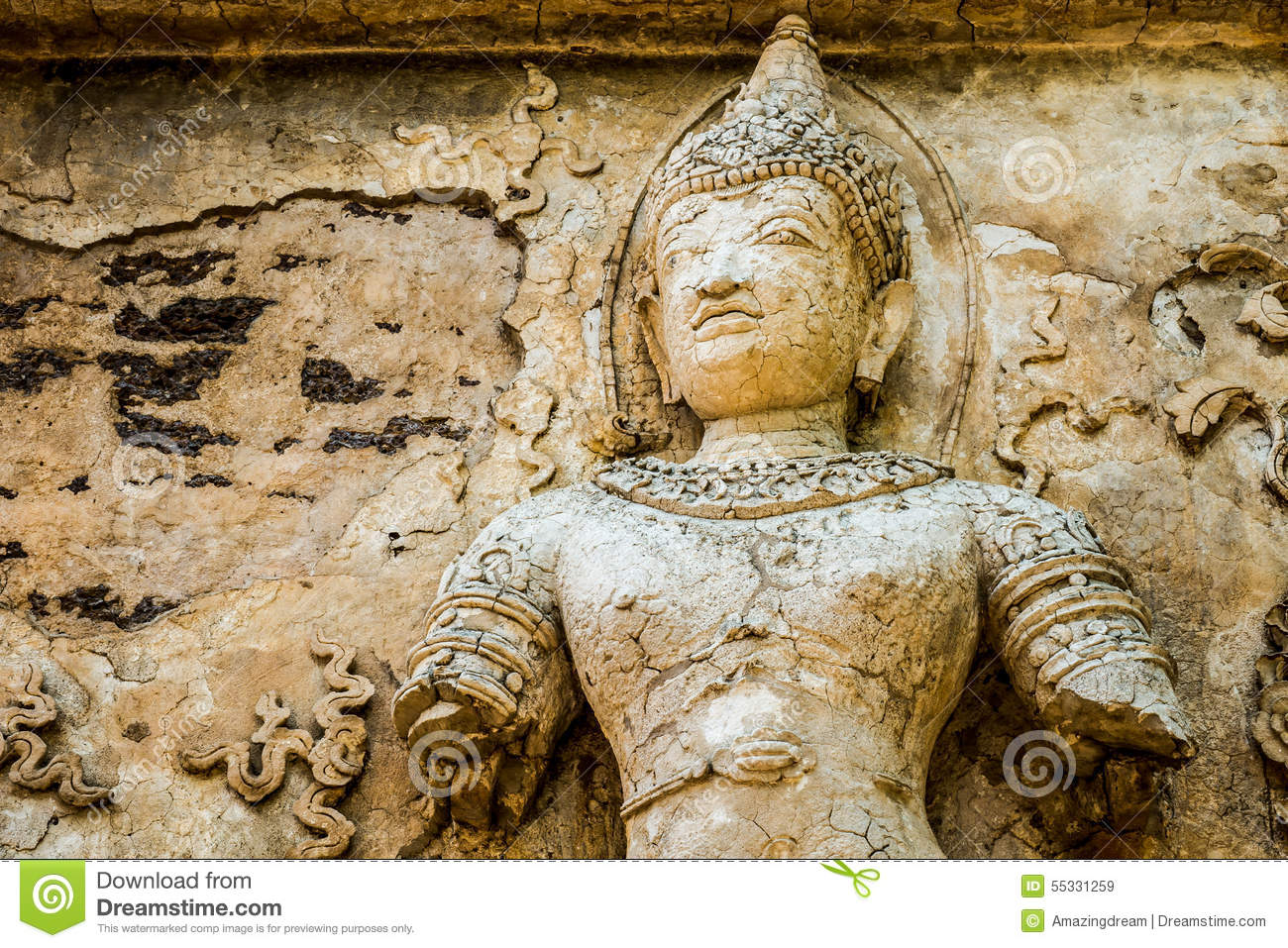 Ancient stone carved thai style stock image