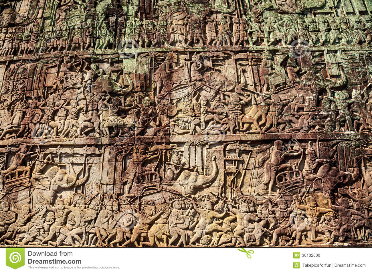Ancient stone carving on the wall at angkor thom stock