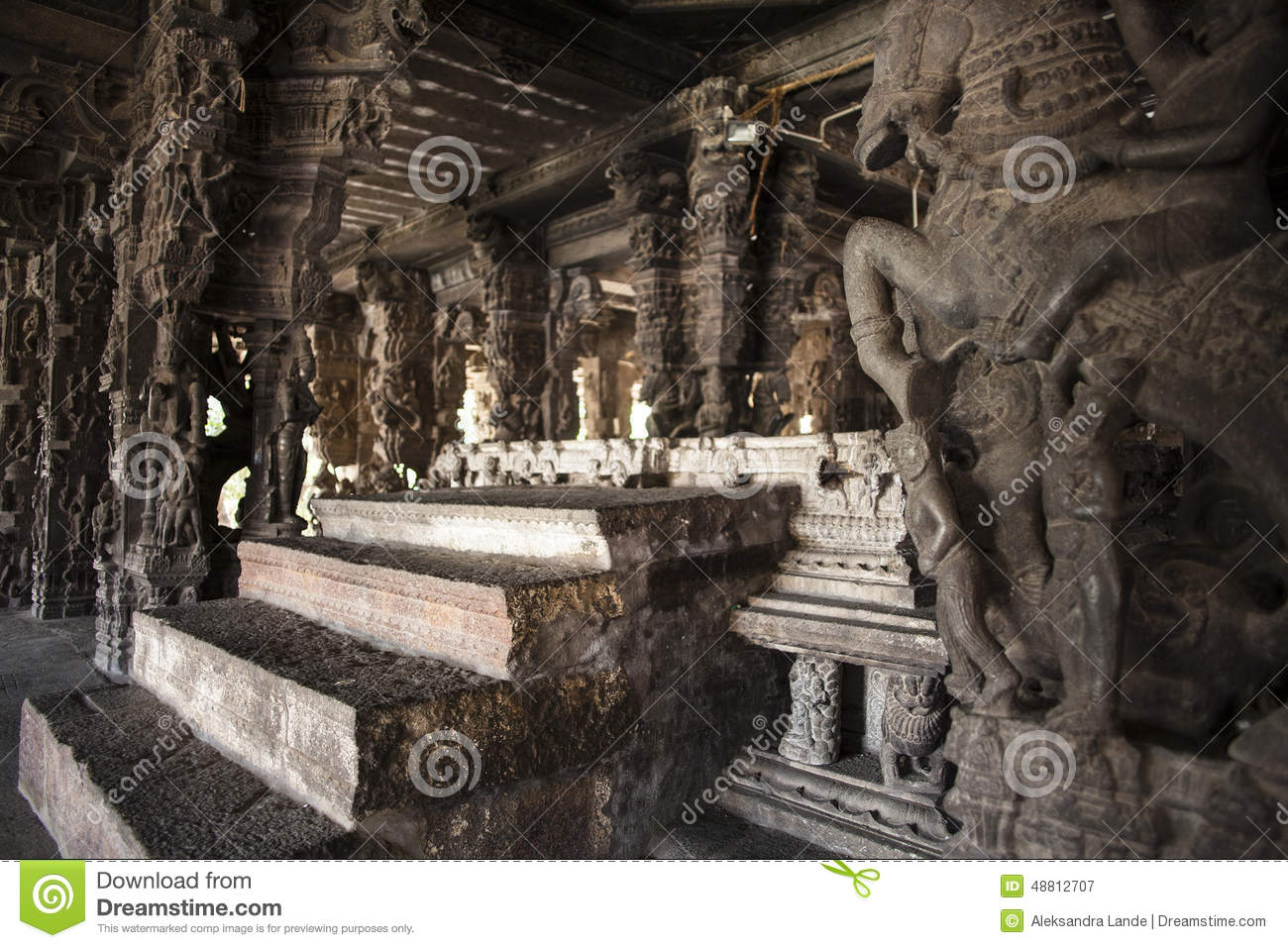 Ancient stone carvings in varadaraja temple