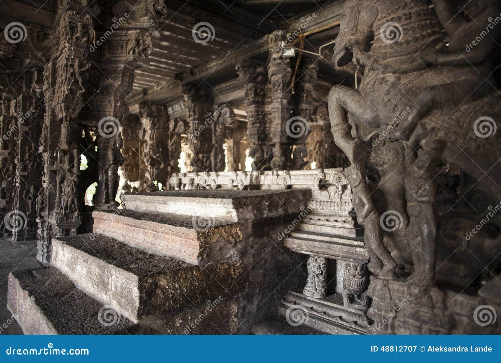 Ancient stone carvings in varadaraja temple
