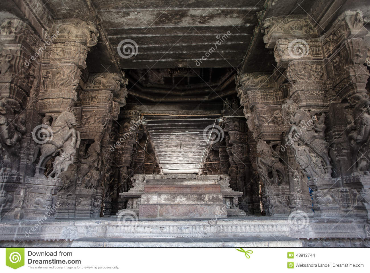 Ancient stone carvings in varadaraja temple stock photo