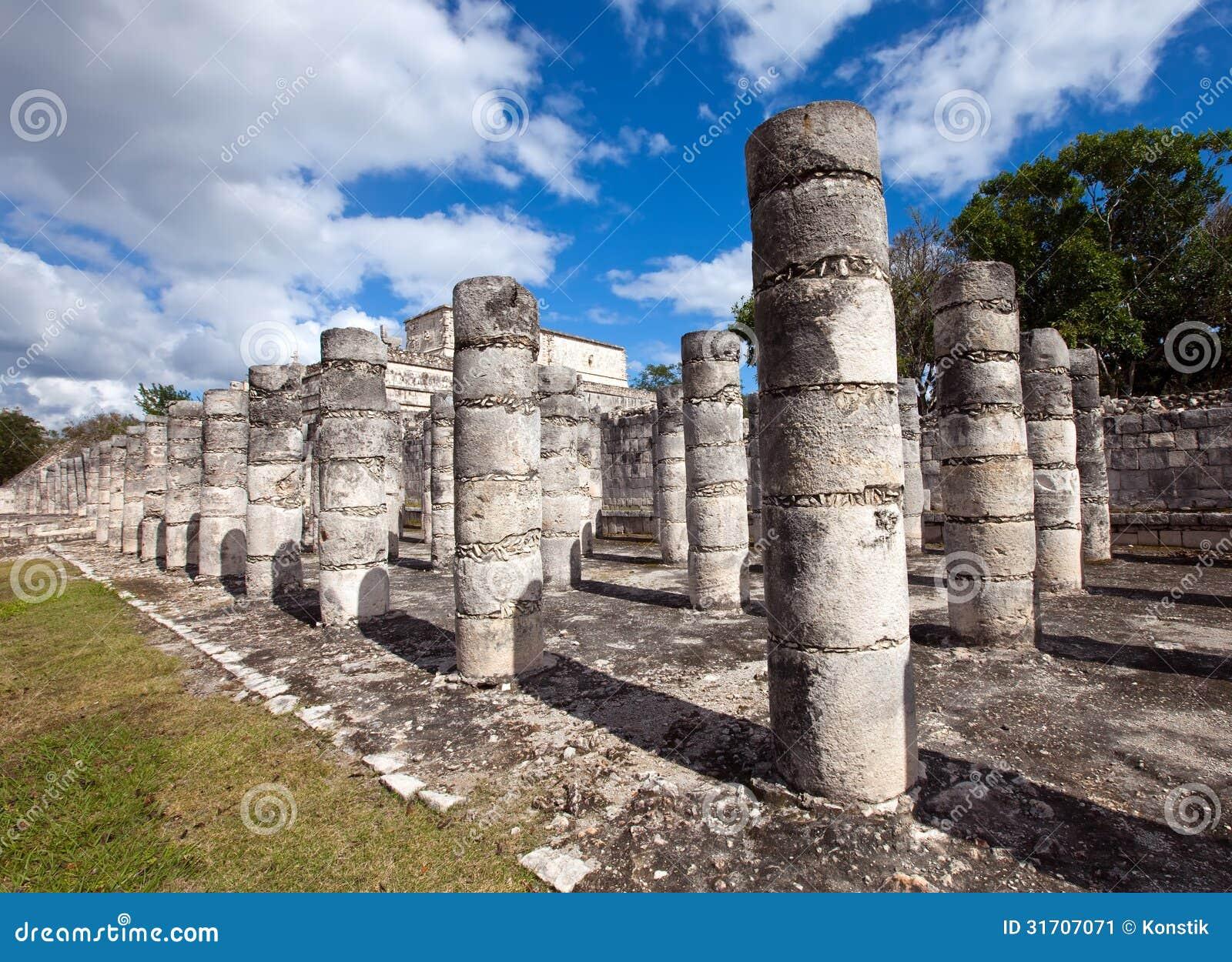 Ancient Stone Pillars : Ancient stone columns ichen itza mexico stock image