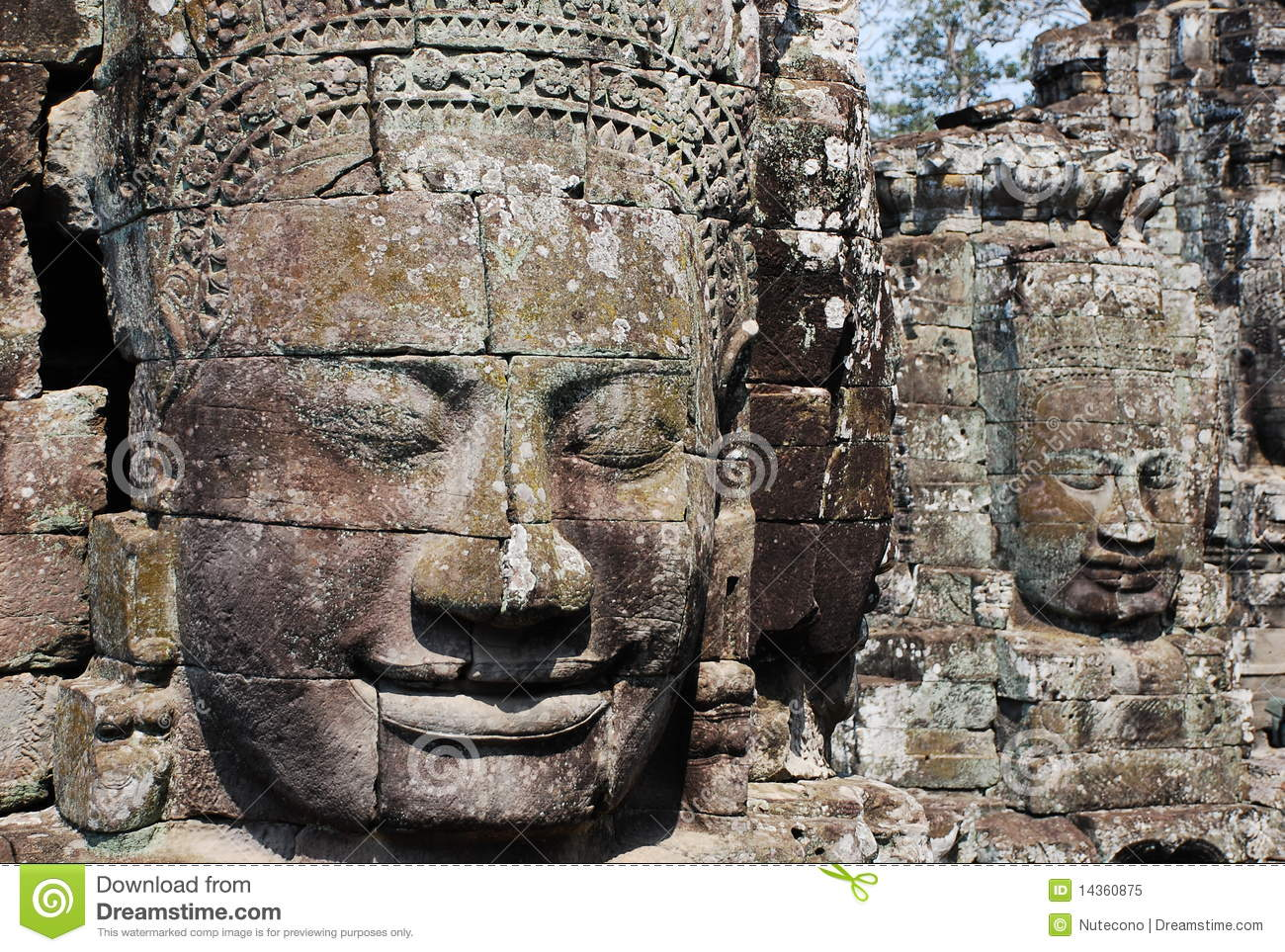 Ancient stone faces royalty free stock photo image