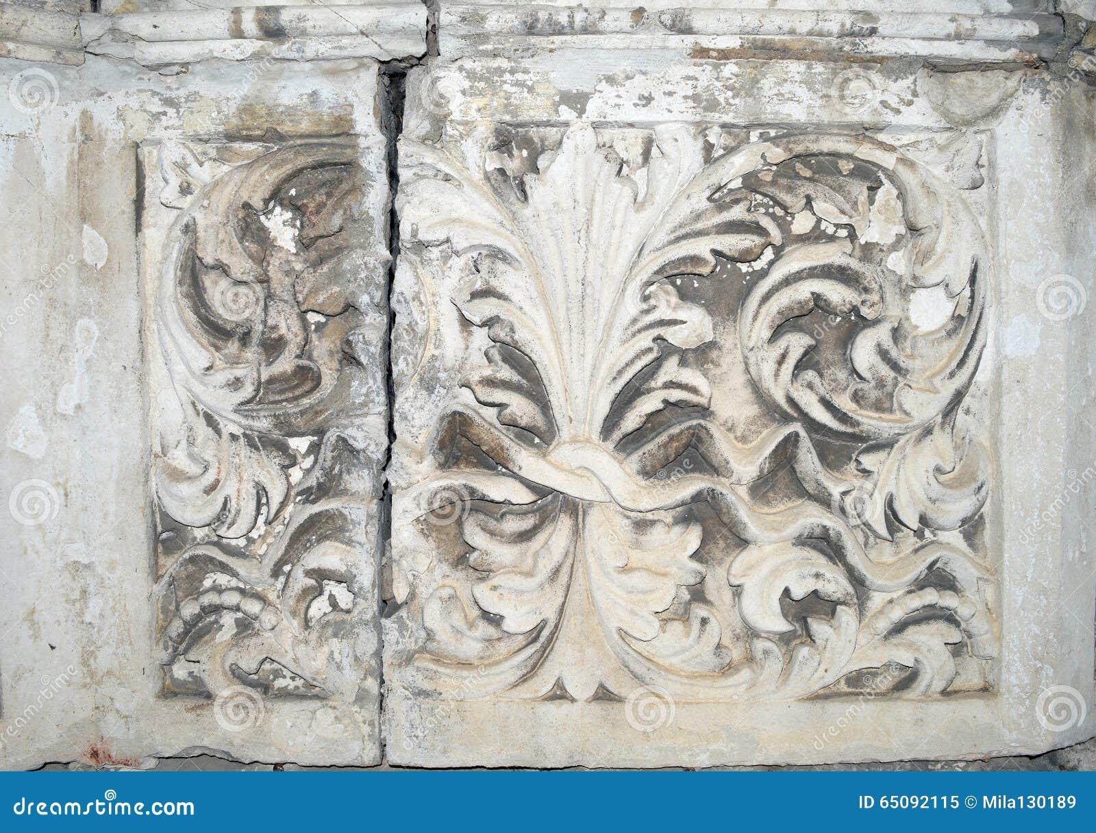 Ancient stone flower pattern, texture