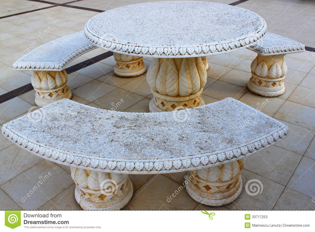 Ancient Stone Table And Benches Stock Image Image Of