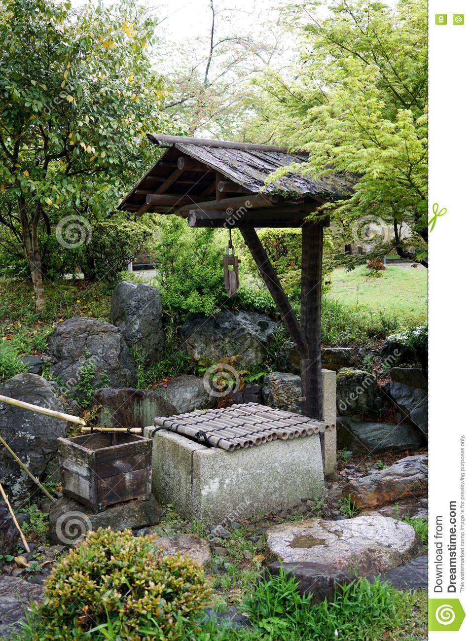 Ancient Stone Well In Japanese Garden Stock Photo - Image of ...