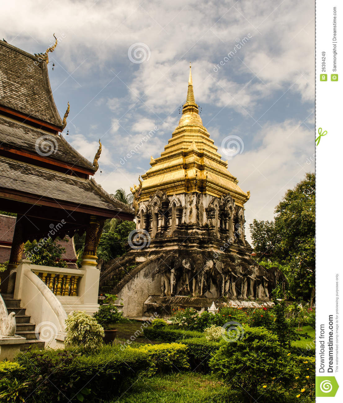 Thailand Architecture: Ancient Temple In Chiangmai Thailand. Stock Image