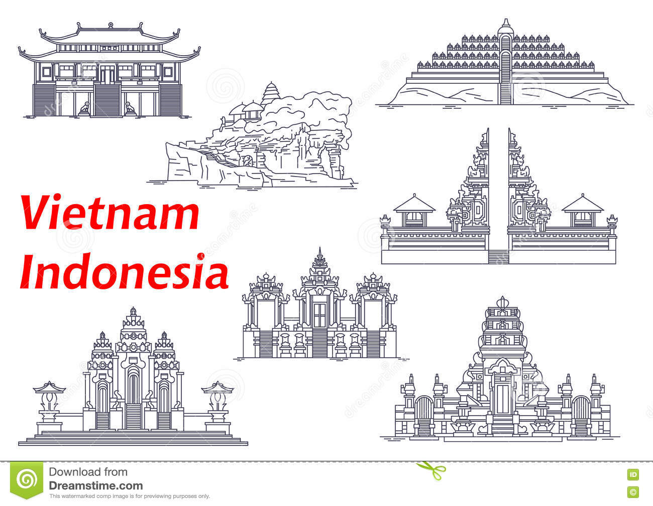 Line Art Java : Ancient temples of indonesia and vietnam icons stock