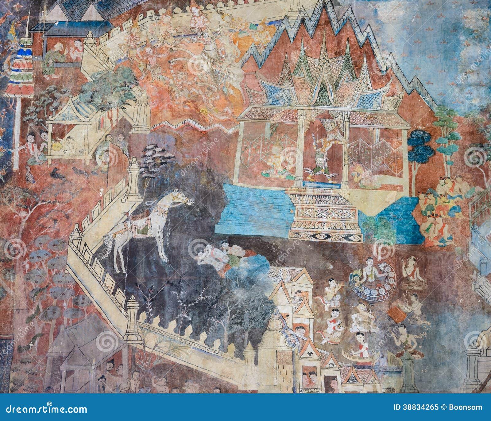Ancient thai mural painting stock photo cartoondealer for Cartoon mural painting
