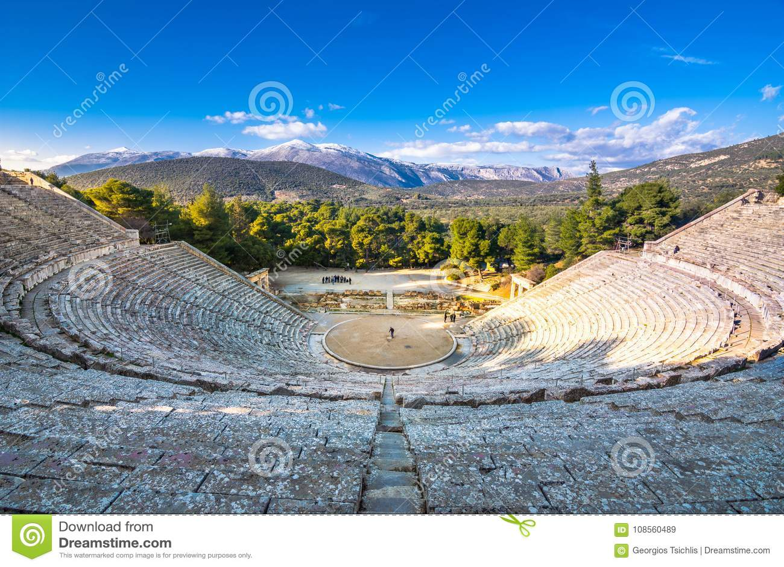 The ancient theater of Epidaurus or `Epidavros`, Argolida prefecture, Peloponnese.