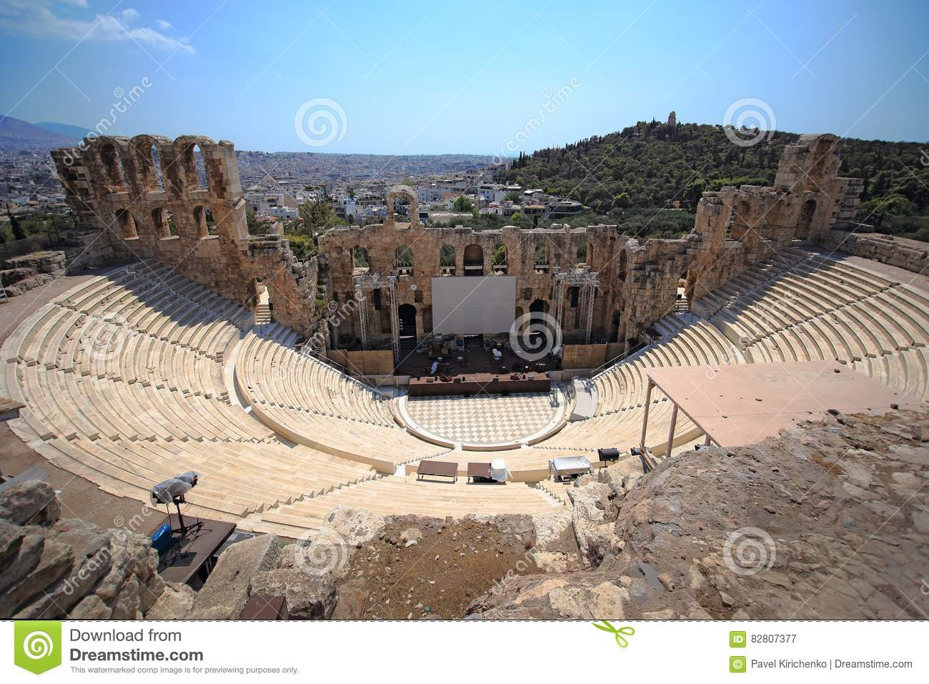 Athens Greece Now The Odeon Of Herodes Amphitheatre
