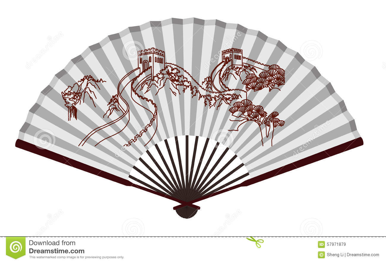 Ancient Traditional Chinese Fan With The Great Wall Stock ...