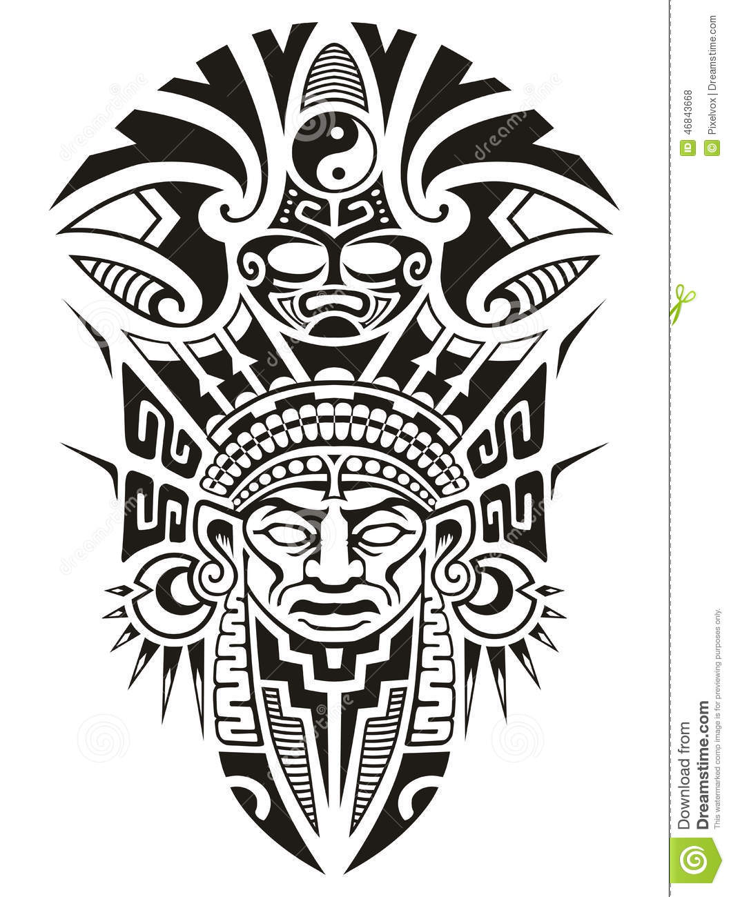Ancient Tribal Mask Vector Illustration Stock Vector - Image: 46843668