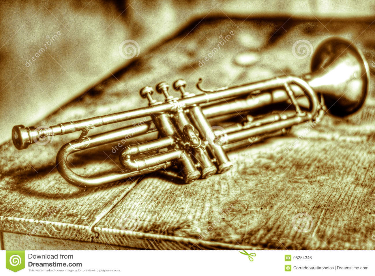 An Ancient Trumpet Of The 1920s Stock Illustration - Illustration of ...