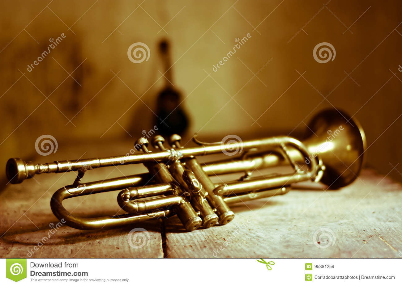 An Ancient Trumpet Of The 1920s Stock Image - Image of guitar ...