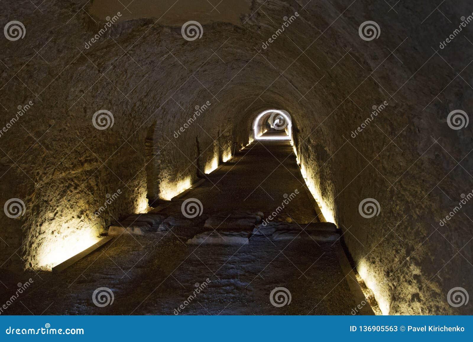 tunnel under Roman Circus in Tarragona, Catalonia, Spain