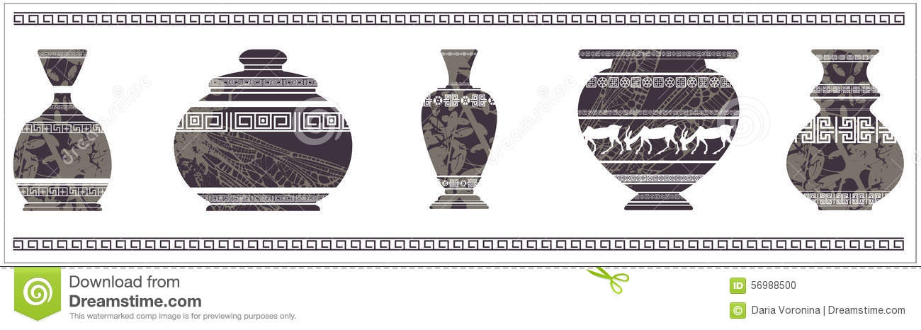 Ancient Vase With Greek Ornament Stock Vector Illustration Of