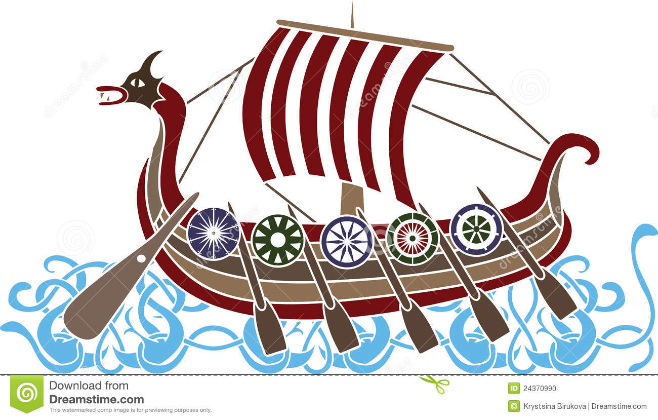 Ancient Vikings Ship Stock Photo - Image: 24370990