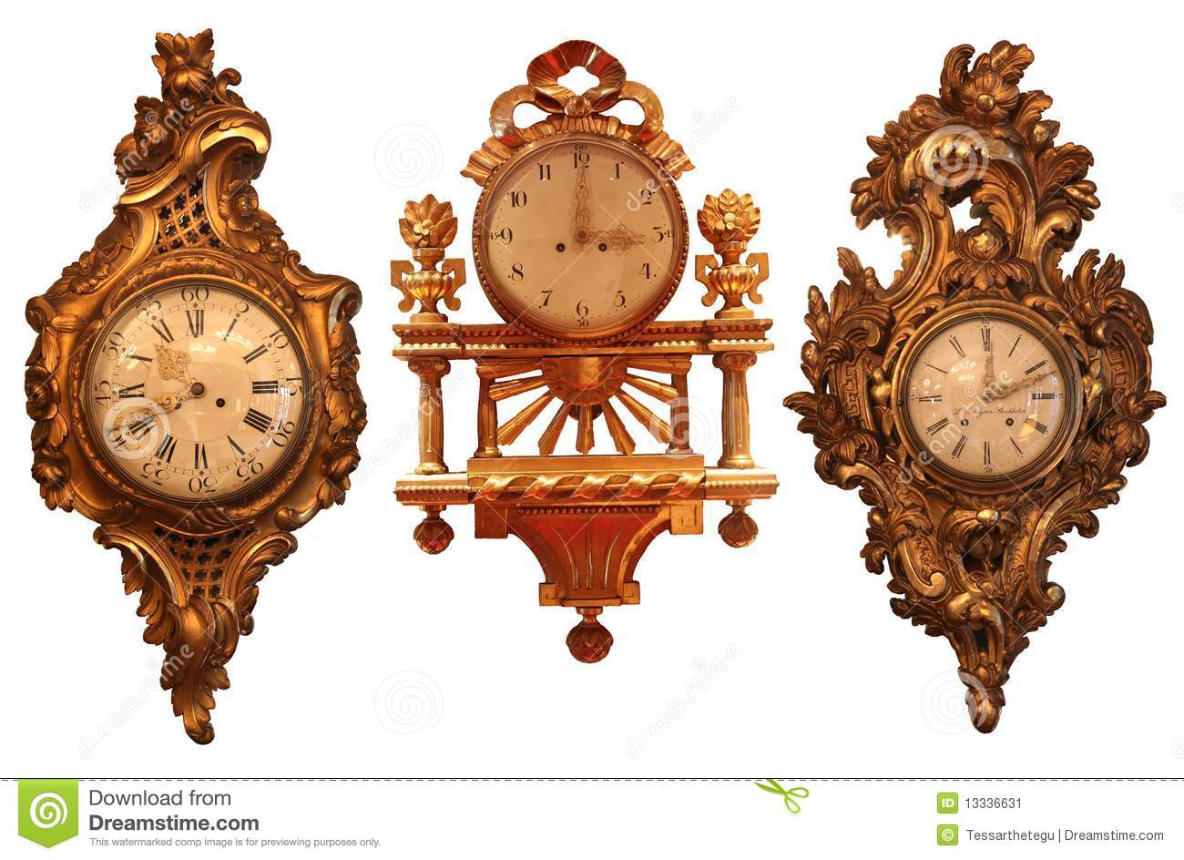 Ancient wall clocks with wooden structure stock image for Reloj de pared antiguo