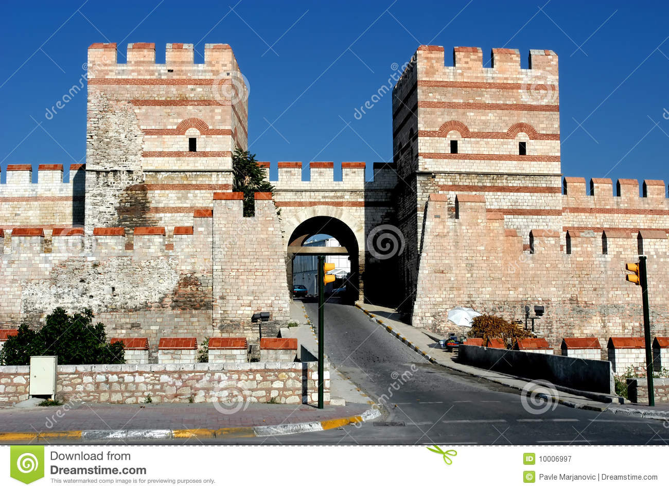 Ancient Wall In Constantinople, Istanbul Royalty Free ...