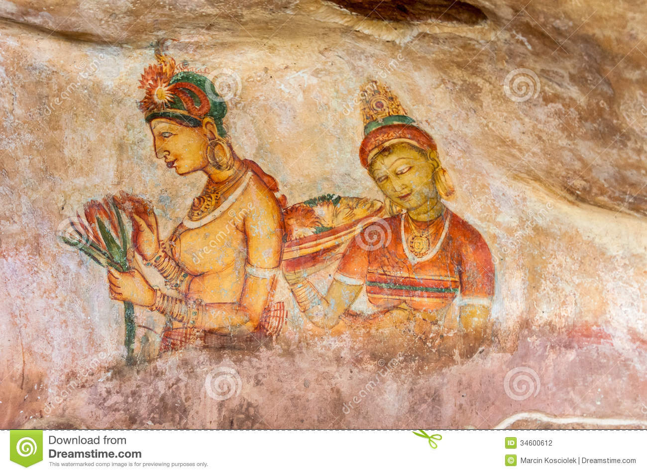 Ancient Wall Paintings At Sigirya Stock Photography ...