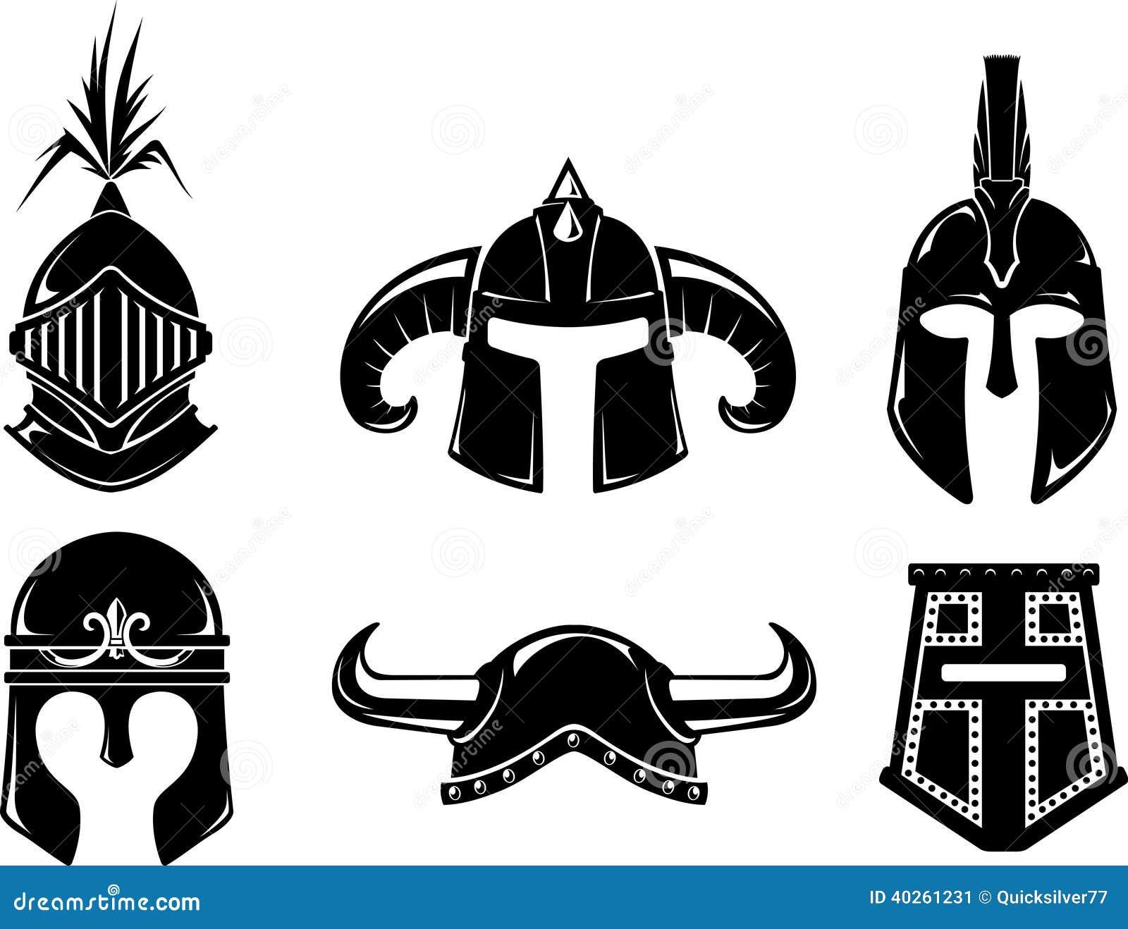 Ancient Warrior Helmet Set Stock Illustration Illustration Of