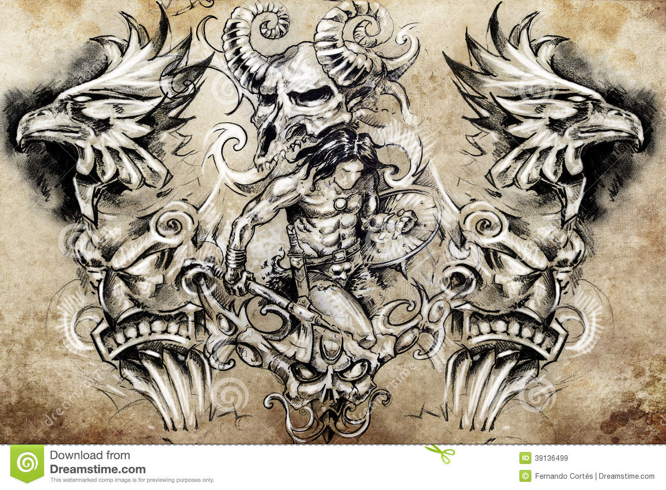Ancient Warrior, Tattoo Sketch Stock Illustration - Image ...