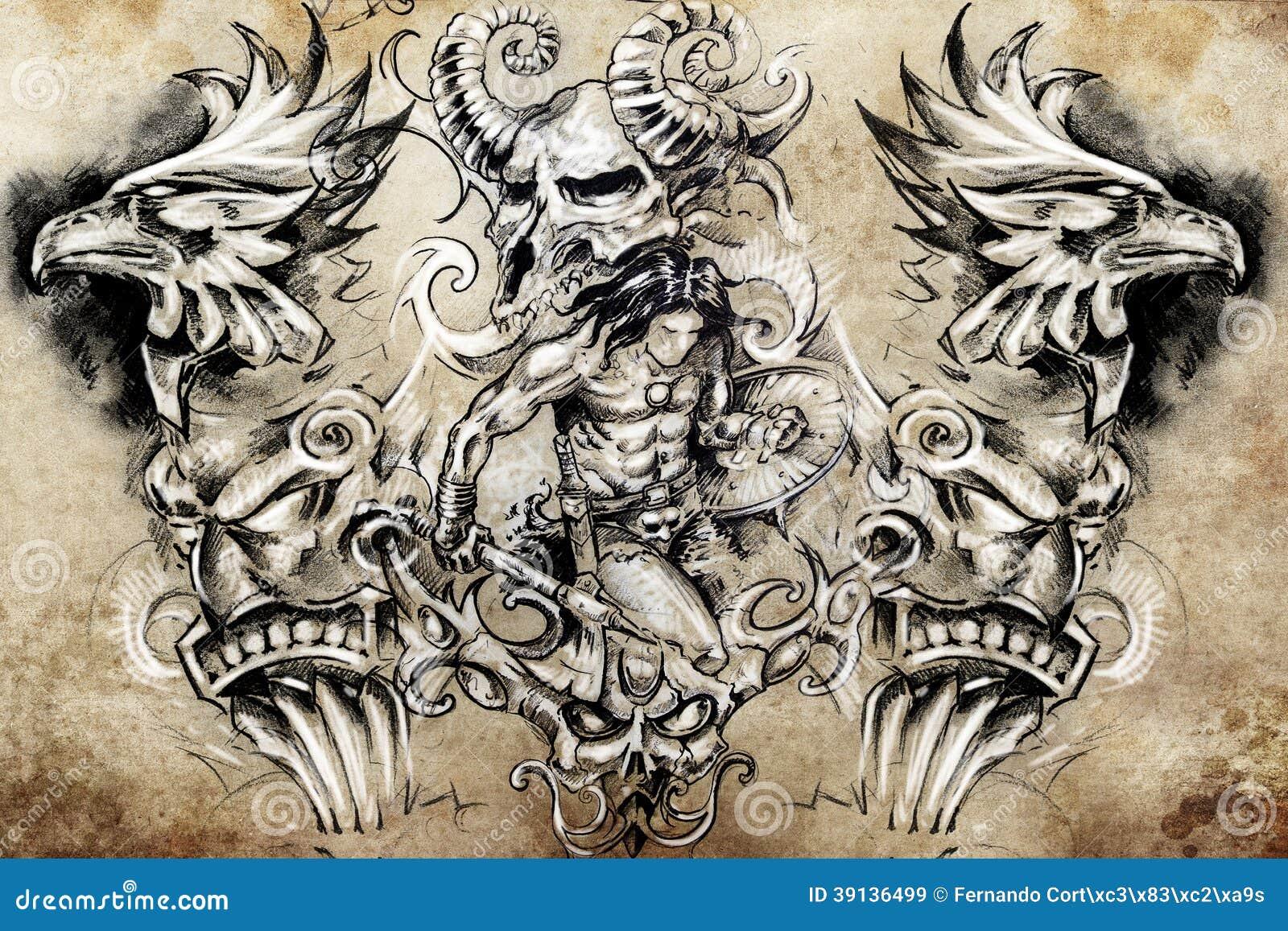 ancient warrior sketch stock illustration image