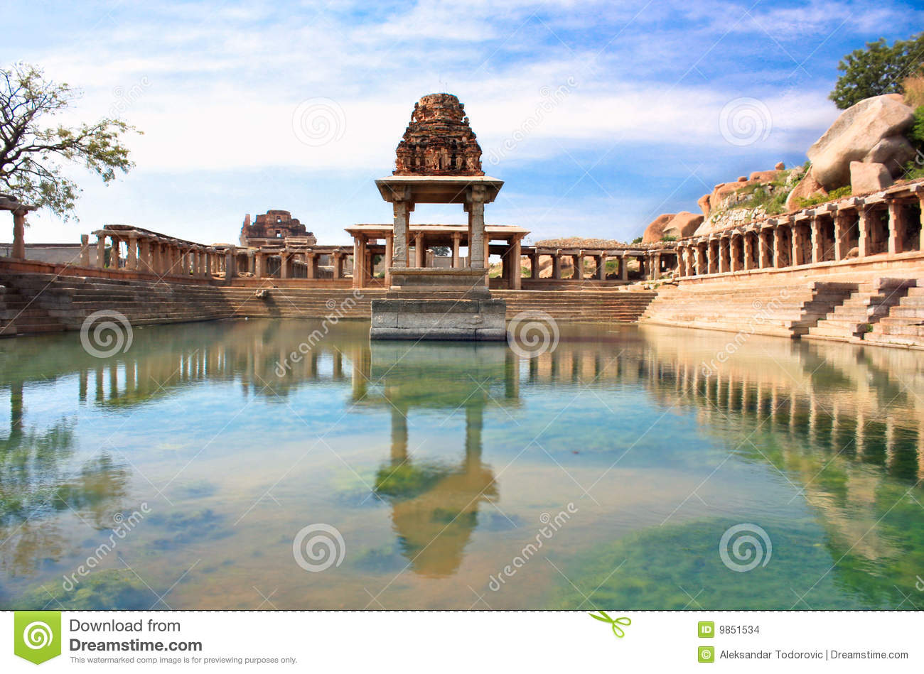 Ancient water pool and temple at Krishna market