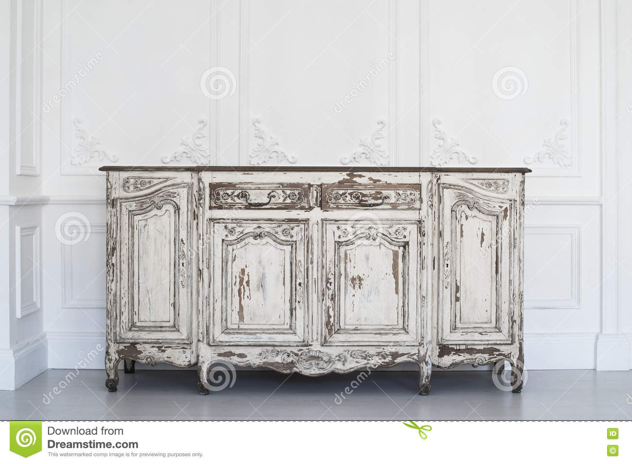 Royalty-Free Stock Photo - Ancient White Commode Bureau With Paint Peeled  Off On Luxury. Antique Furniture Mouldings ... - Antique Furniture Mouldings Antique Furniture