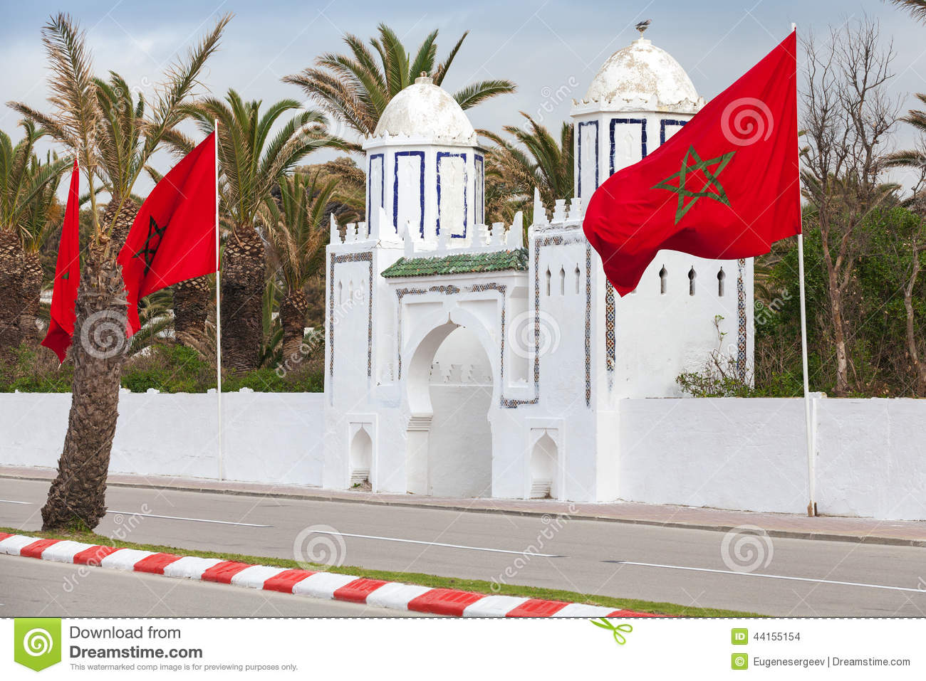 Ancient white gate to the park in Tangier, Morocco