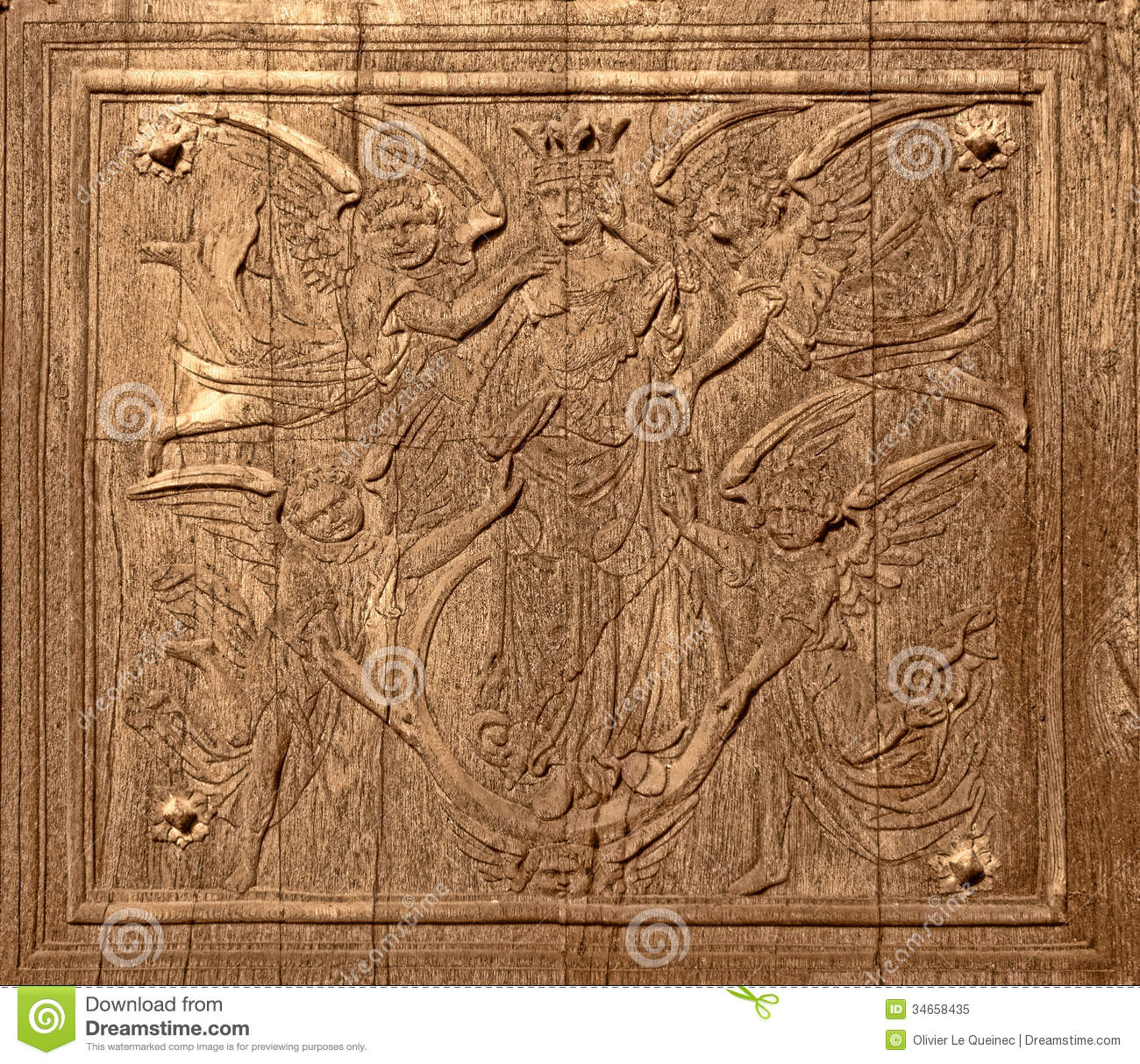 Ancient wood carving on antique church old door stock