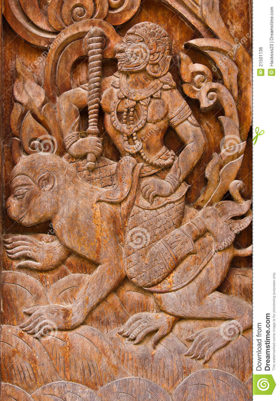 Ancient wood carvings ramayana stock photo image