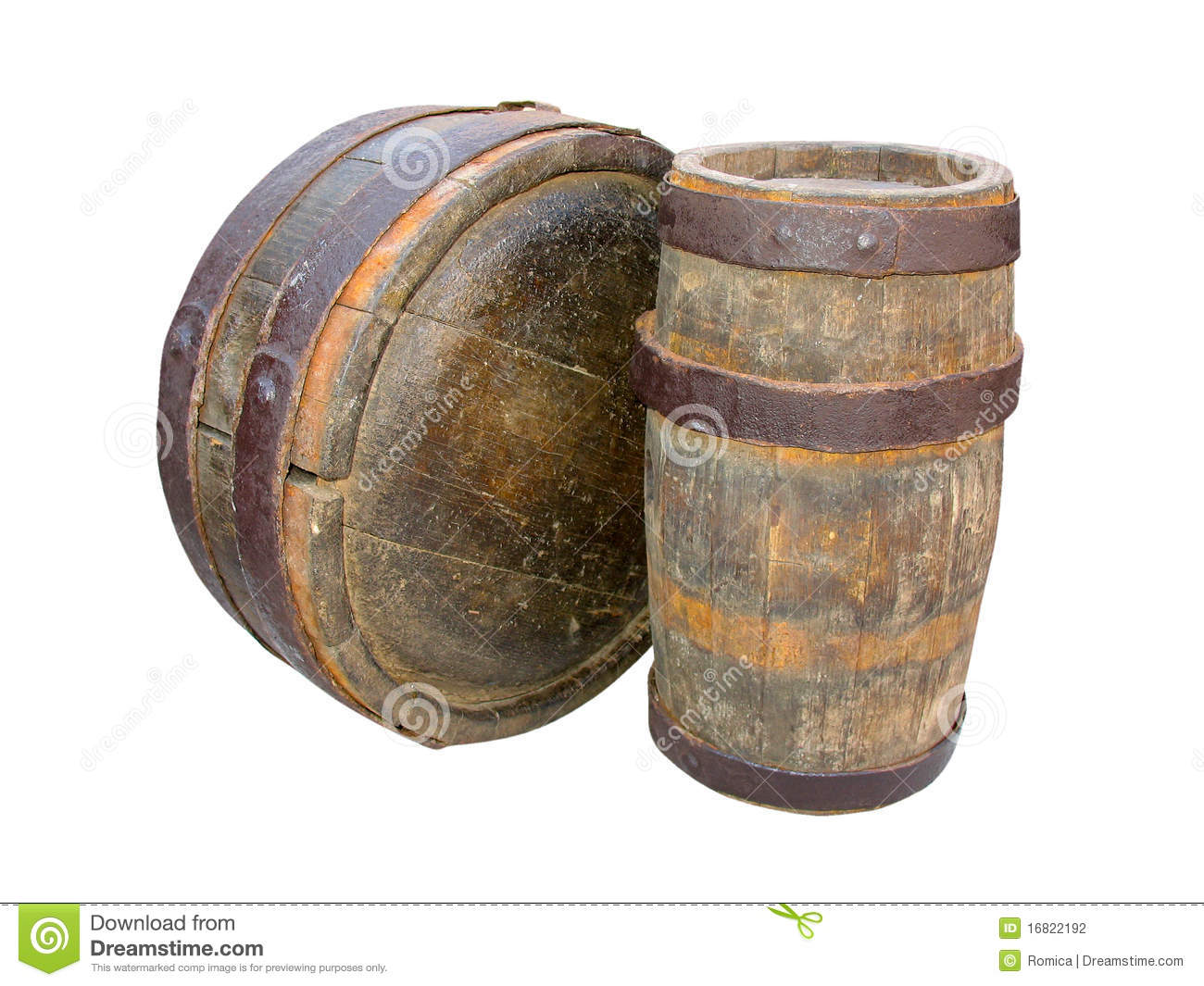Ancient Wooden Barrels Isolated On White Stock Photo