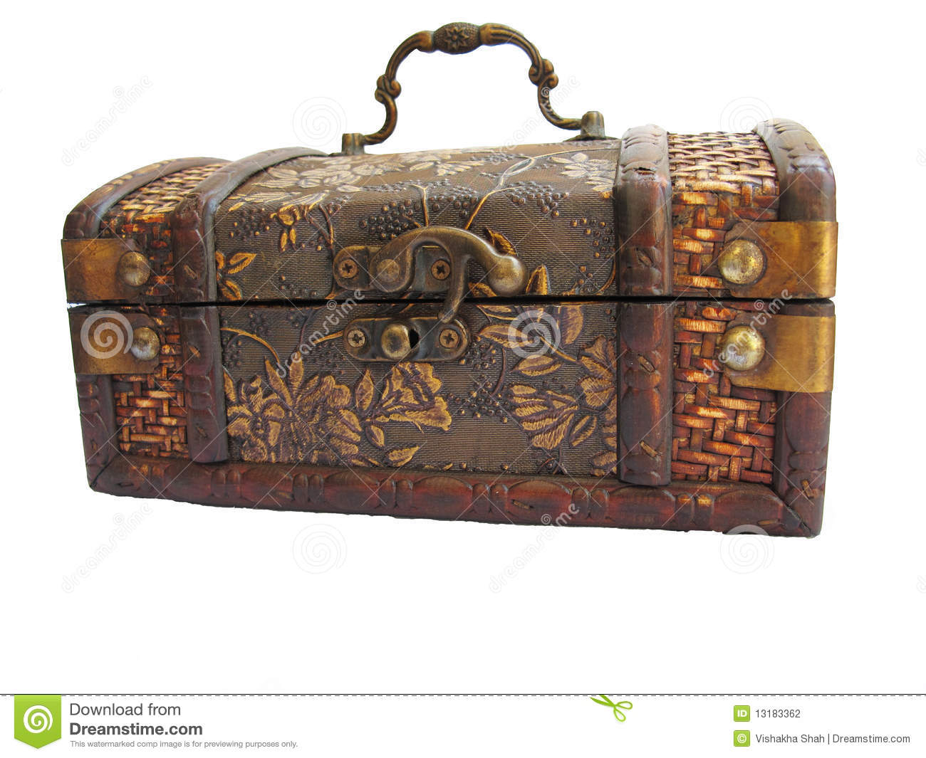 An ancient wooden crafted box with metal lock.