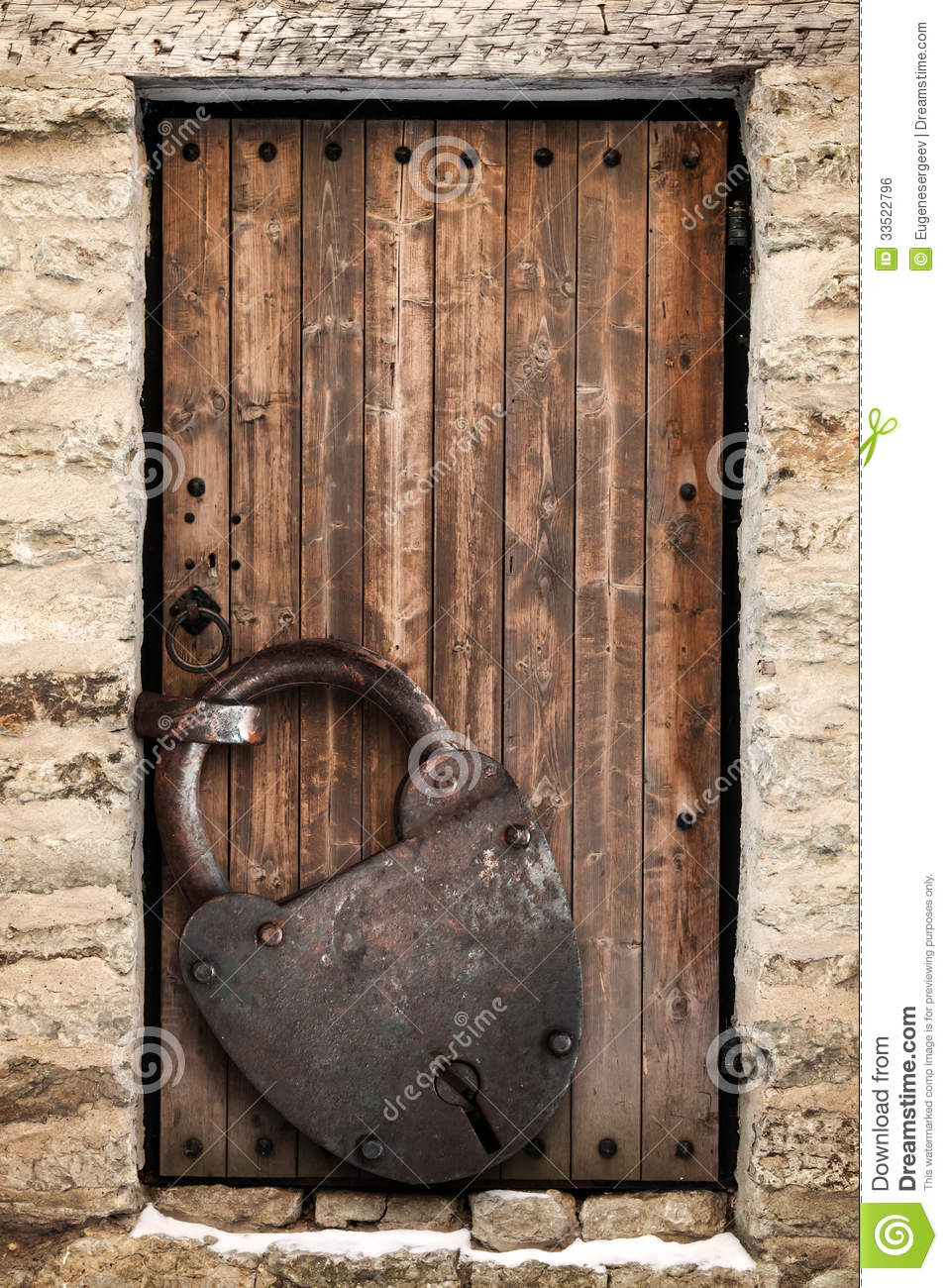 Ancient wooden door and big rusted lock stock photo - Old fashioned interior door locks ...