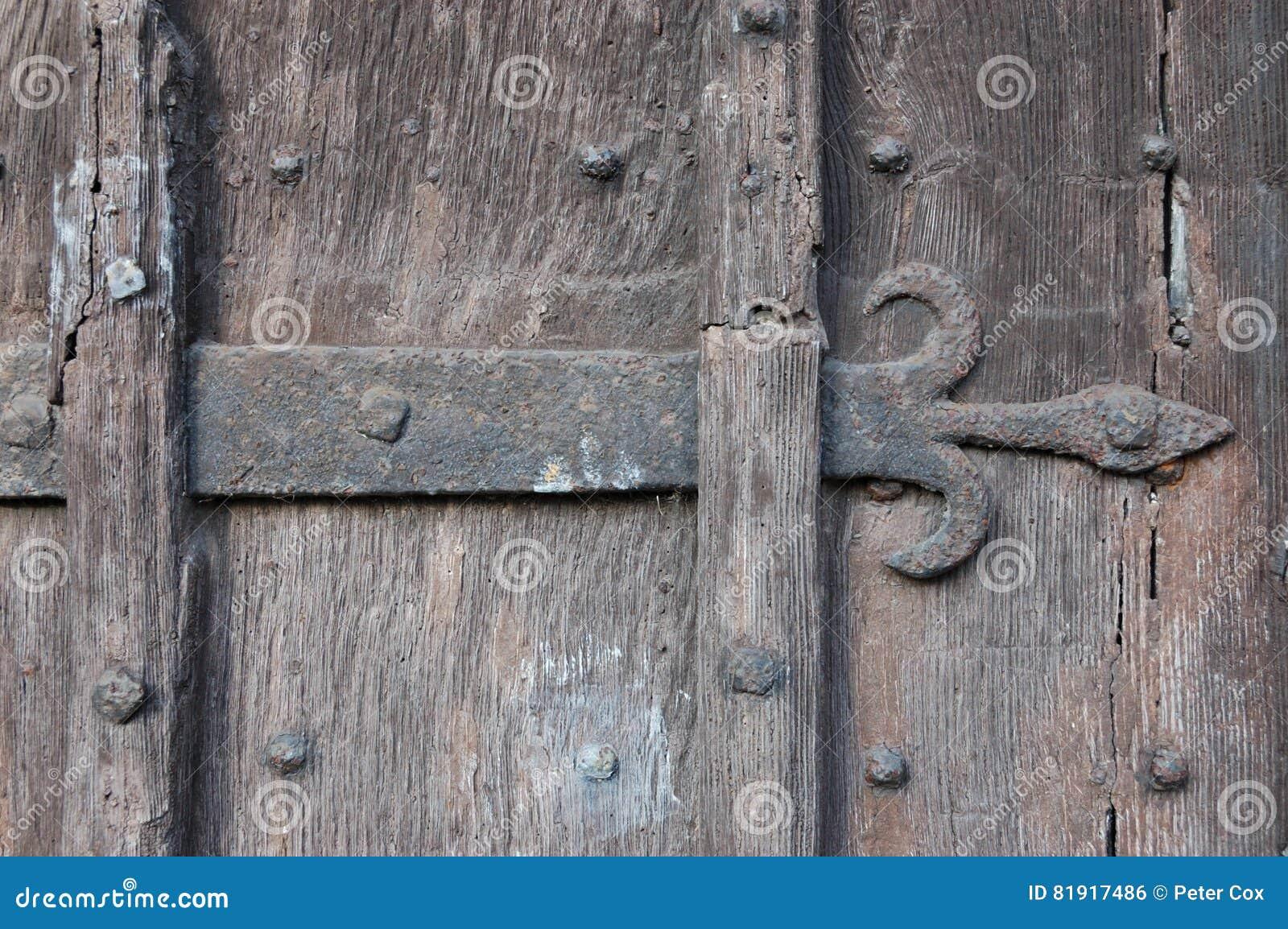 Ancient Wooden Door With Fleur De Lis Ironwork Stock Photo Image