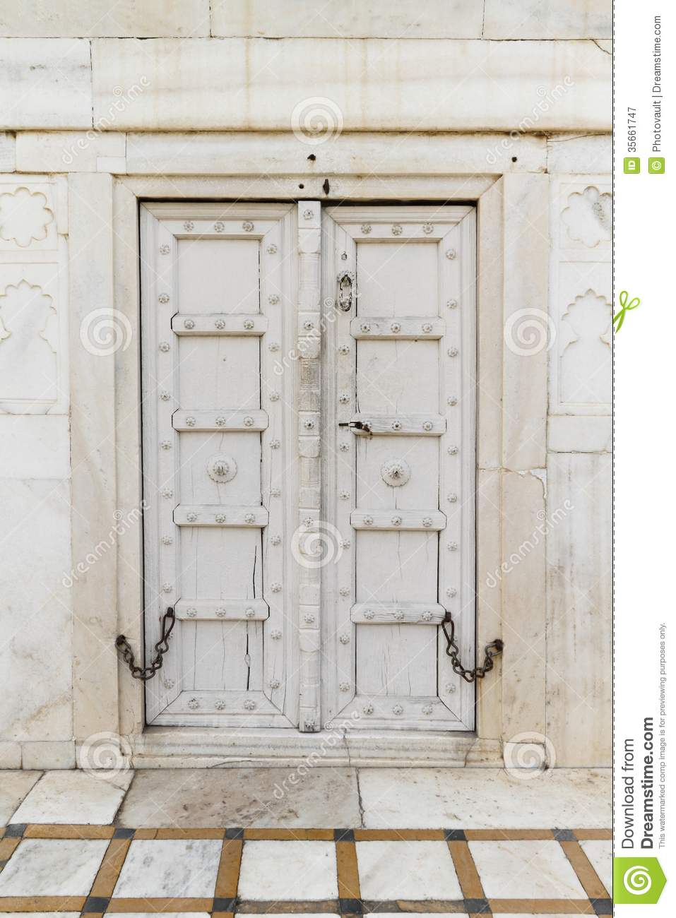 Ancient Wooden Door At Taj Mahal Royalty Free Stock