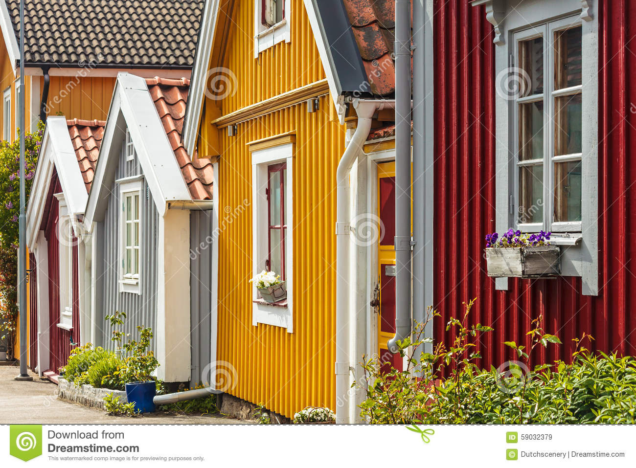 Ancient Colorful Wooden Houses In The City Of Karlskrona Sweden