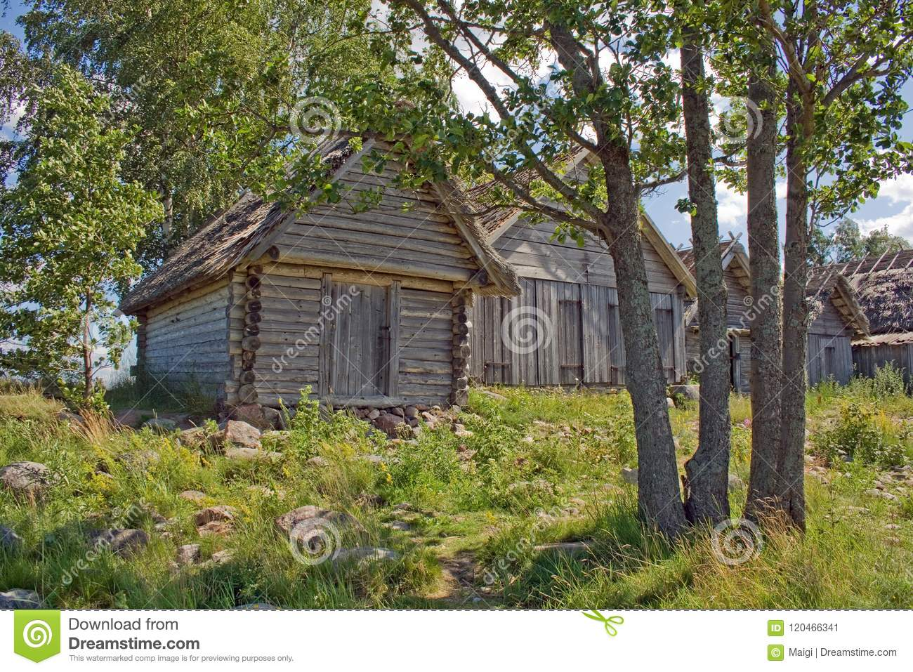 Download Ancient Wooden Net-sheds On A Sunny Day Stock Image - Image of beautiful, wood: 120466341