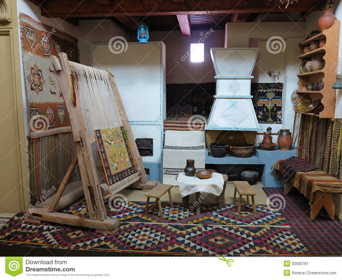 Ancient Wooden Vintage Loom Producing Carpet Stock Image