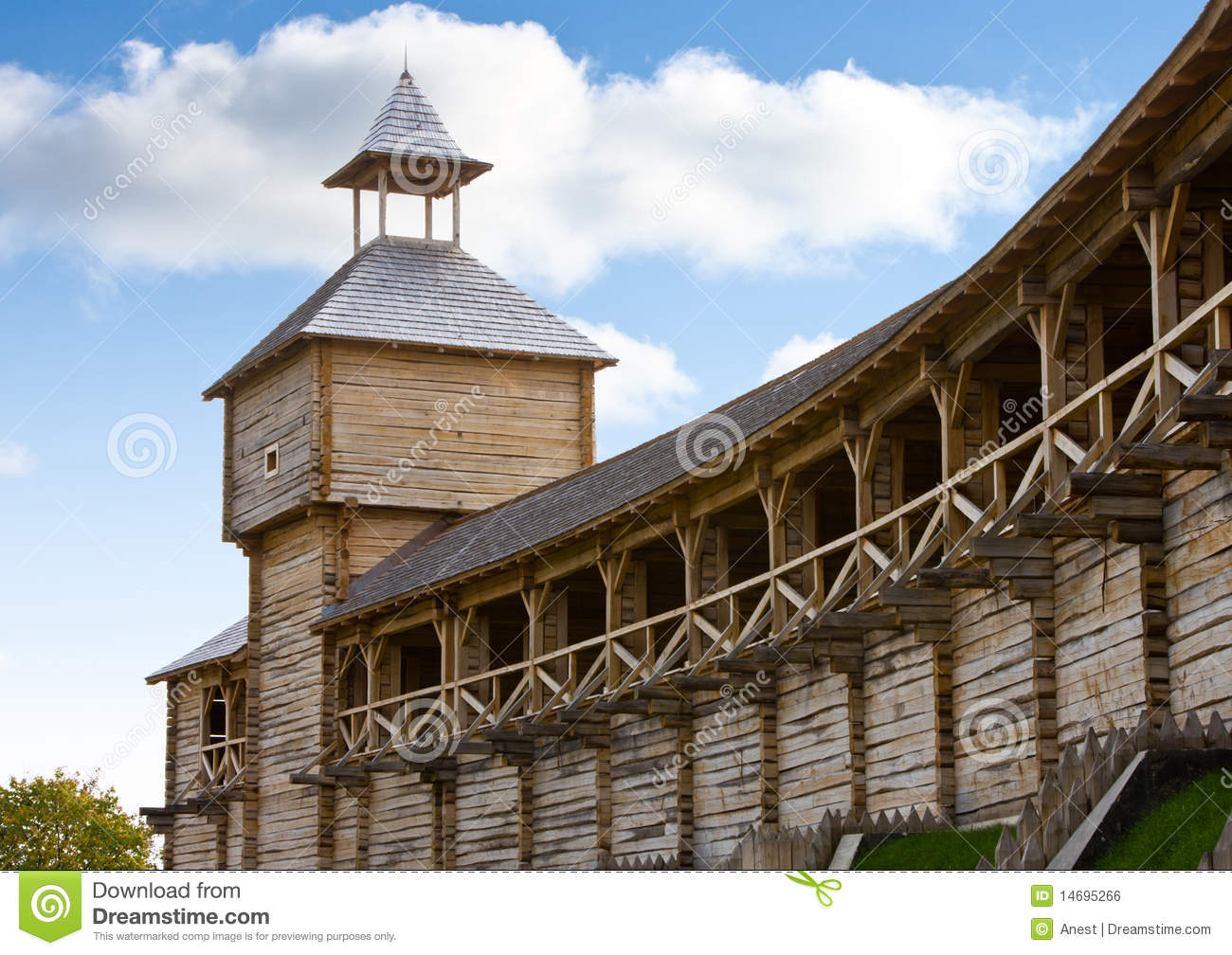 Ancient wooden watch tower and fortification stock photo for Old wooden forts