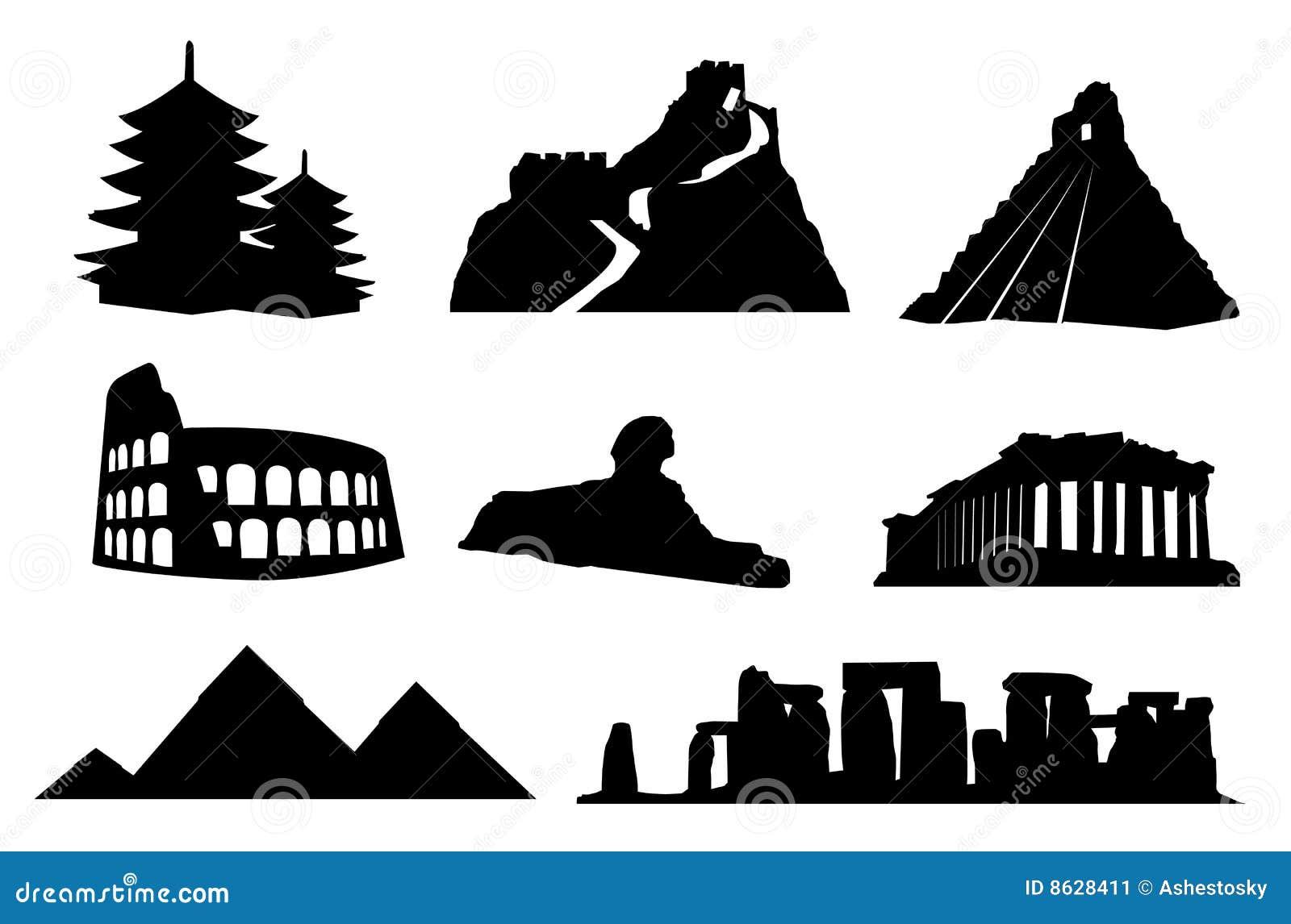 Ancient world landmarks isolated