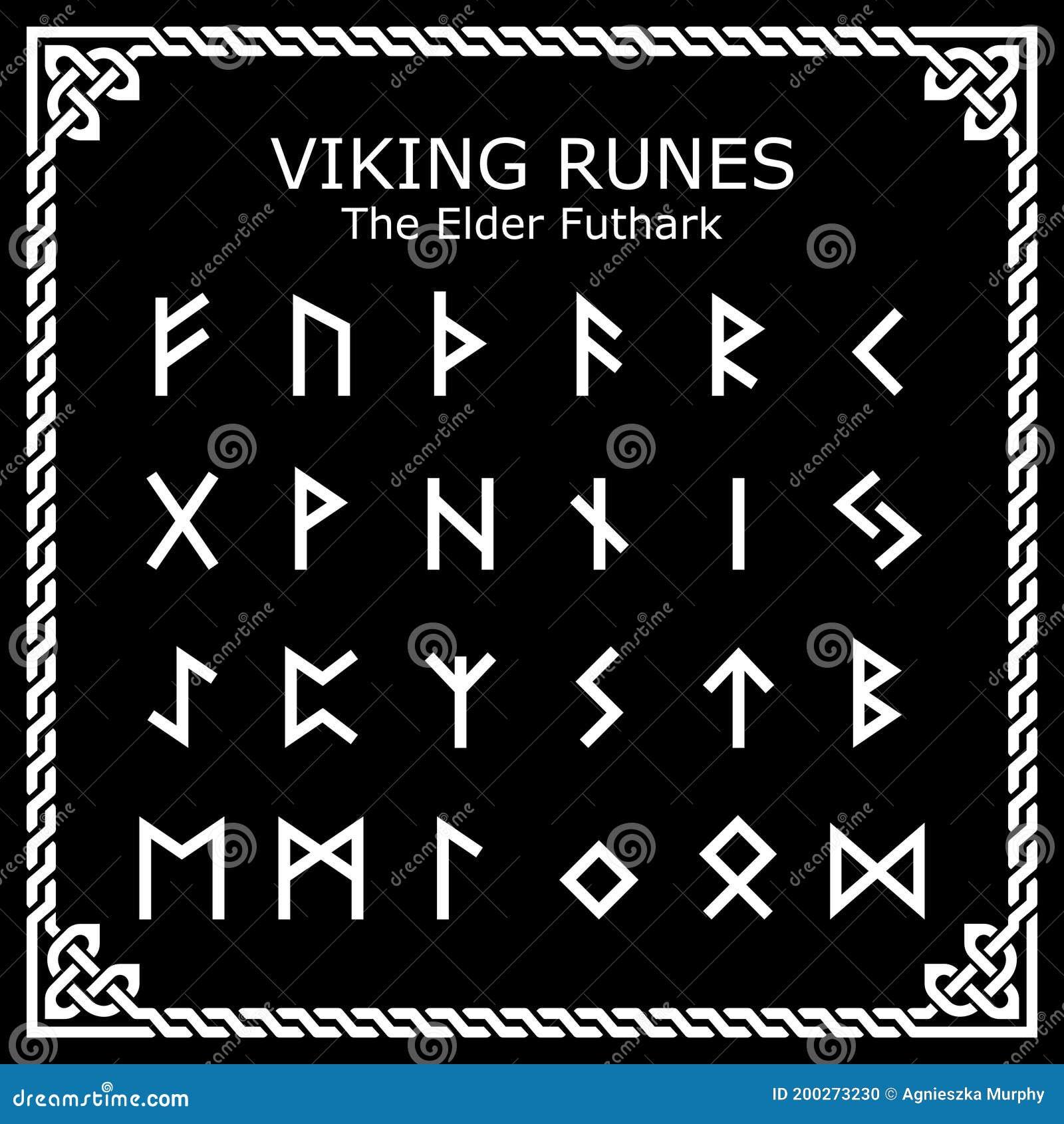 Viking Runes the Elder Futhark Alphabet Vector Design Set in ...