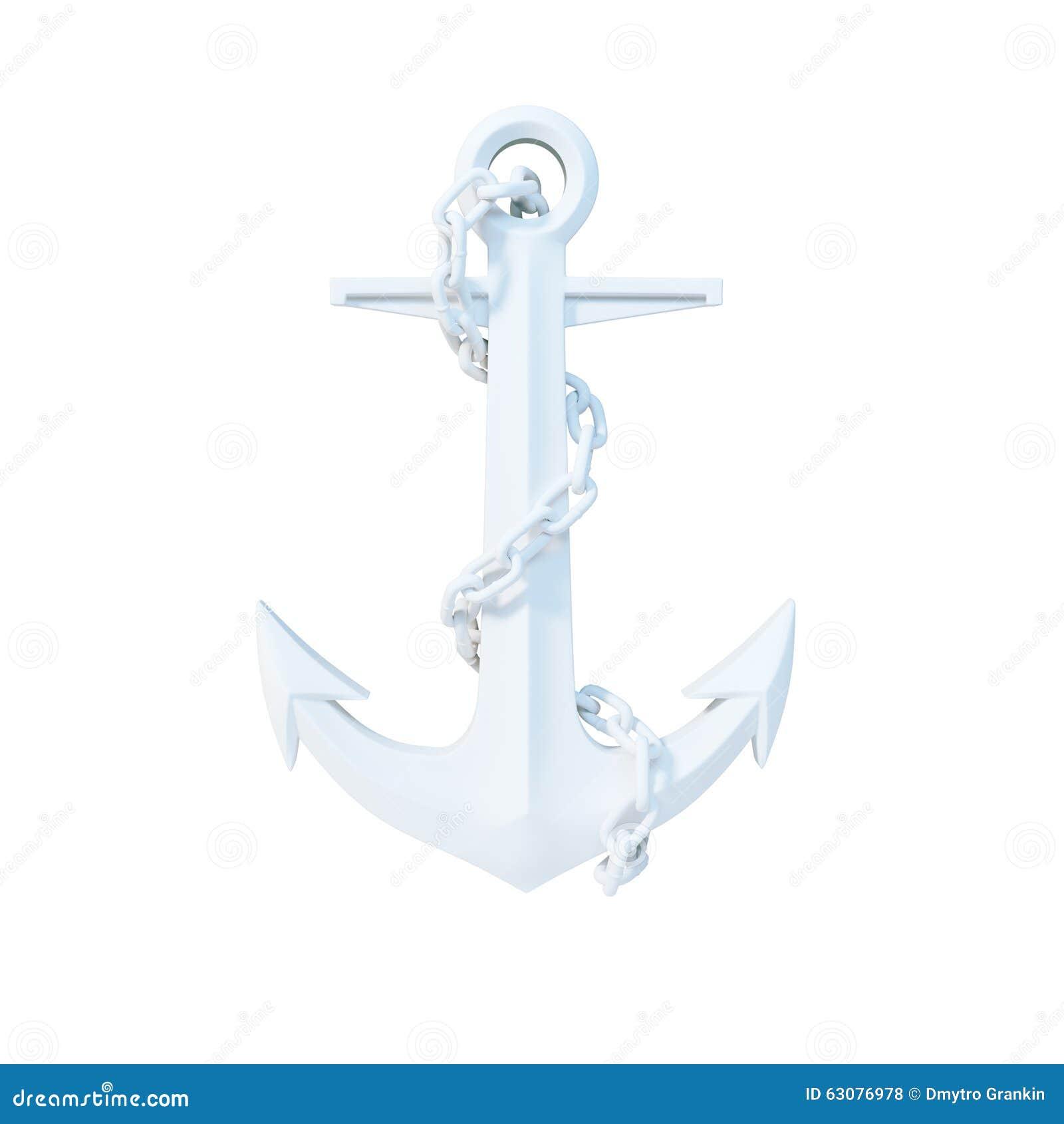 Download Ancre Blanche Avec La Chaîne D'isolement Sur Le Blanc 3d Rendent Illustration Stock - Illustration du lourd, nautique: 63076978