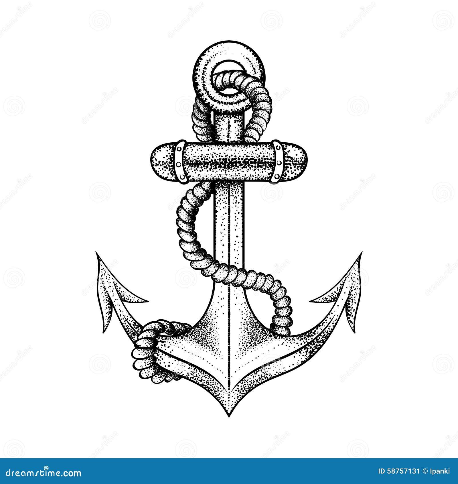 Ancre flottante l gante tir e par la main de bateau avec la corde illustration de vecteur - Ancre de bateau dessin ...