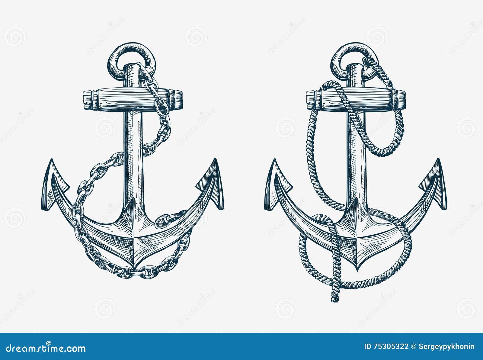 Ancre De Bateau Dessin ancre nautique tirée par la main de vecteur bateau d'élément de